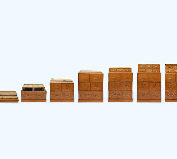 American Oak Stacking File Cabinet