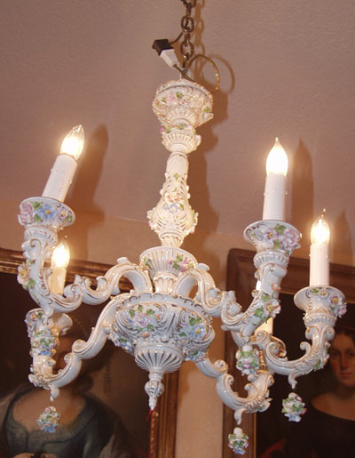 Italian Porcelain Chandelier Capodimonte - Porcelain Chandelier Capodimonte